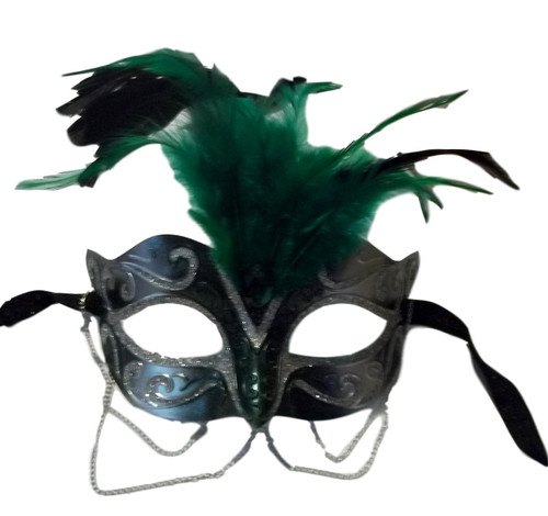 Green Silver Venetian Masquerade Mask Chains Feathers Small