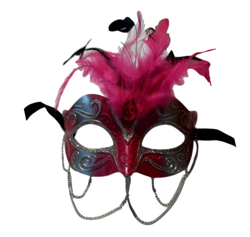 Hot Pink and Silver with Chains Venetian Masquerade Mask Feathers Small