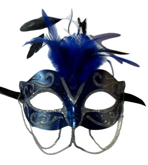 Blue Silver with Chains Venetian Masquerade Mask Feathers Small
