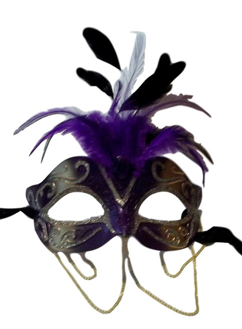 Purple Gold with Chains Venetian Masquerade Mask Feathers Small