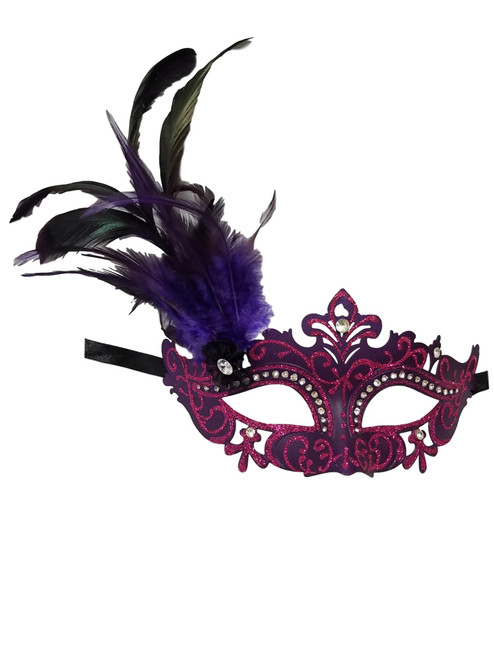 Purple Princess Venetian Masquerade Mask with Feathers