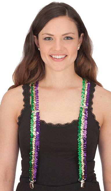 Mardi Gras Sequin Suspenders Purple Green Gold