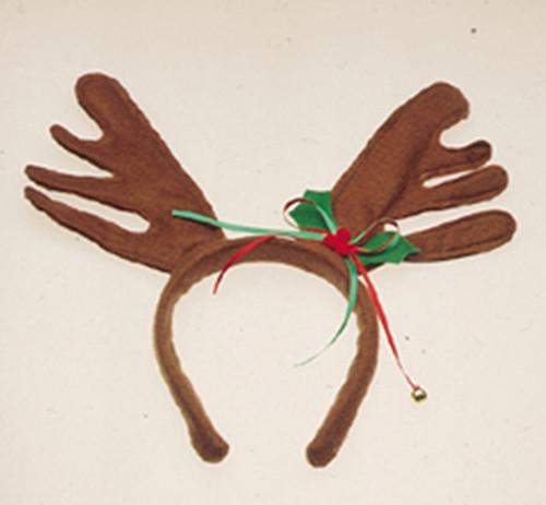 Reindeer Antlers with Christmas Holly Ribbon Headband Brown