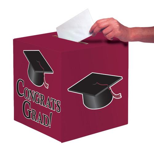 """Burgundy Black Graduation Card Box 9 x 9 """"Congrats Grad"""" Graduation"""