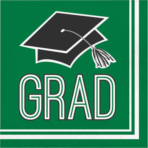 Emerald Green 36 ct Luncheon Napkins Value Size Graduation School Spirit