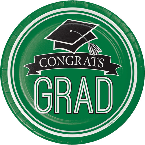 "Emerald Green Black 18 7"" Dessert Plates Value Size Graduation School Spirit"