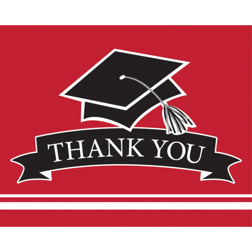 Classic Red Black 25 Ct Value Size Thank You cards Graduation School Spirit