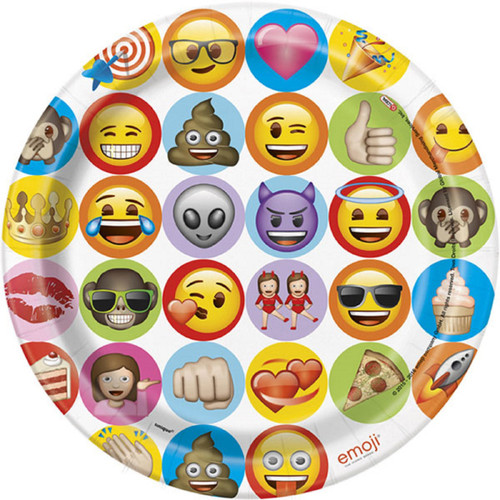 "Emoji Celebration 8 Paper 9"" Dinner Lunch Plates Birthday Party"