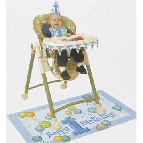 1st Birthday Blue Balloons High Chair Decorating kit Bib Hat Banner Mat