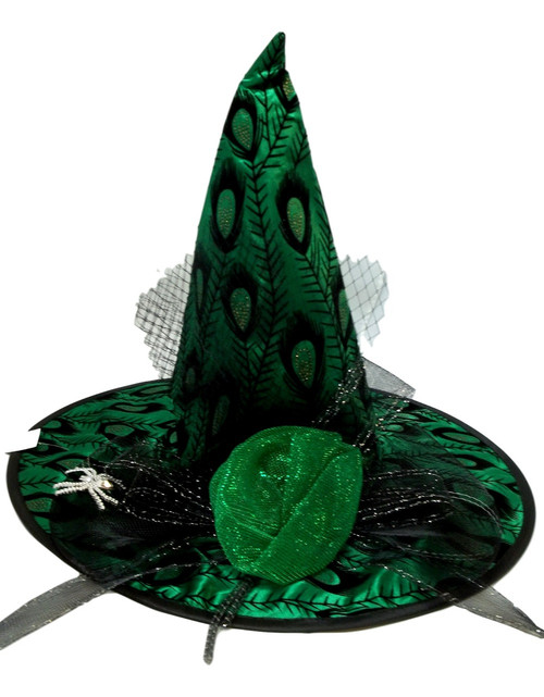 Emerald Green Satin Peacock Mesh and Spider Pin Halloween Witch Hat