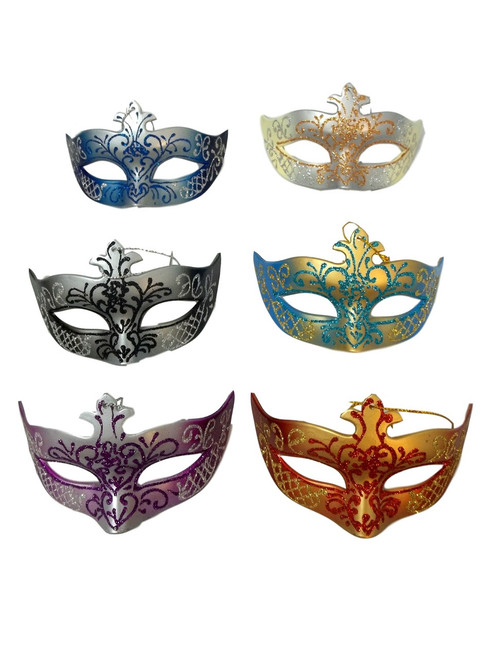 Scroll Ornament Mardi Gras Mask Set 4 Assorted (Not Wearable) Party Favors