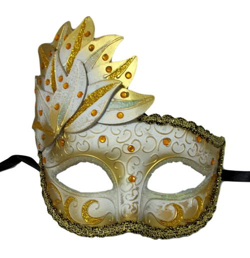 White Gold Venetian Mask Masquerade Mardi Gras Party Leaf Cascade Rhinestones