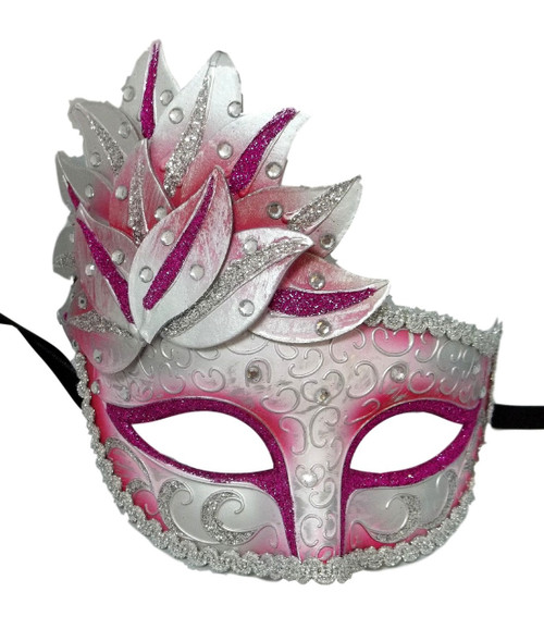 Pink White Venetian Mask Masquerade Mardi Gras Party Leaf Cascade Rhinestones