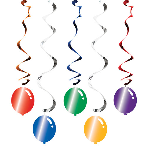 Balloon Blast 5 Ct Dizzy Danglers Hanging Decorations Birthday Party
