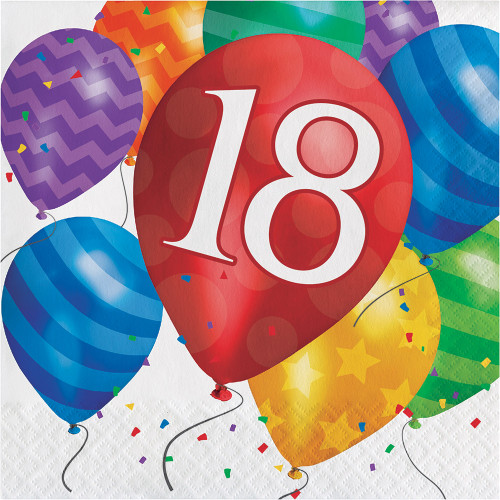 Balloon Blast 16 Ct 18 Luncheon Napkins 18th Birthday Party