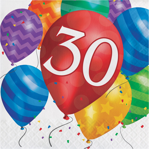 Balloon Blast 16 Ct 30 Luncheon Napkins 30th Birthday Party