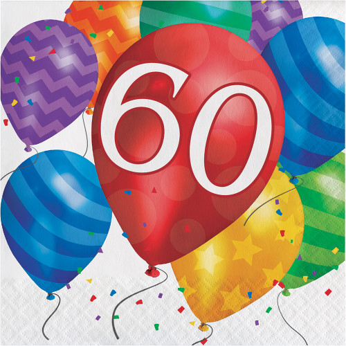 Balloon Blast 16 Ct 60 Luncheon Napkins 60th Birthday Party