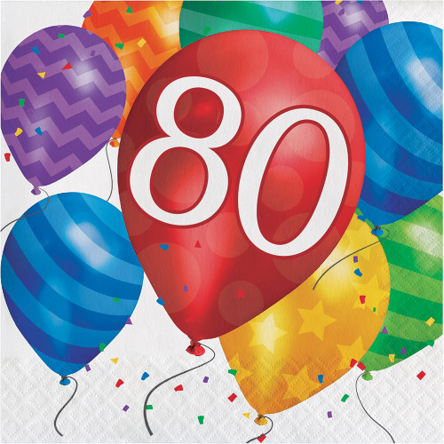 Balloon Blast 16 Ct 80 Luncheon Napkins 80th Birthday Party