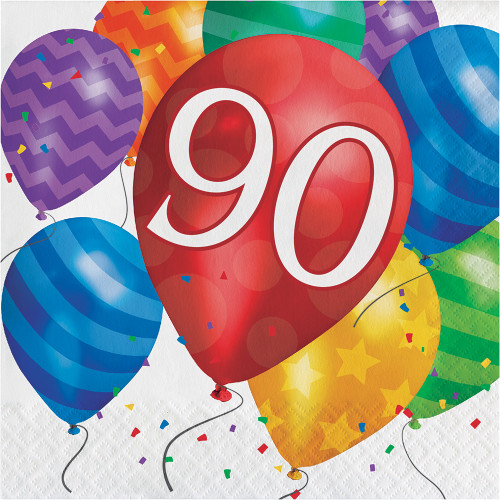 Balloon Blast 16 Ct 90 Luncheon Napkins 90th Birthday Party