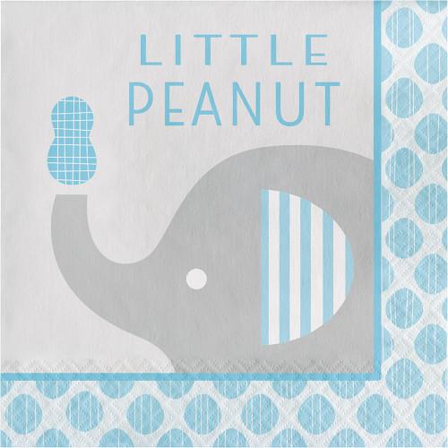 """Little Peanut"" Boy  16 Luncheon Napkins Blue Elephant Baby Shower"