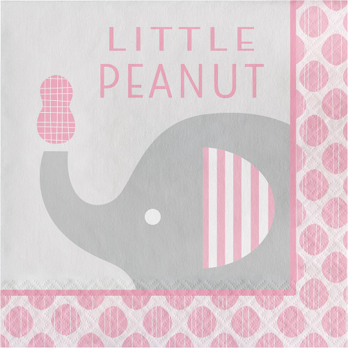 """Little Peanut"" Girl 16 Luncheon Napkins Pink Elephant Baby Shower"