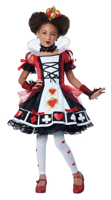 Deluxe Queen of Hearts Halloween Costume Child XS 4-6 Bonus Safety Light