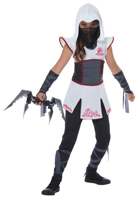 Fearless Ninja Warrior Halloween Costume Child XL 12 - 14 White Bonus Safety Light