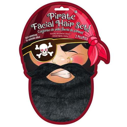 Pirate Black Facial Hair Set Moustache Beard