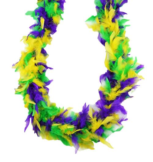 Purple Green Yellow Mardi Gras Colors 45 Gm 6 ft Chandelle Feather Boa