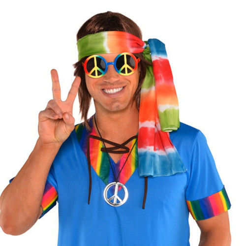 Groovy 60's Hippie Kit Tie Dye Head Scarf, Peace Sign Glasses and Necklace
