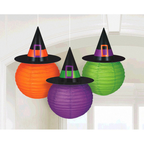 3 Lanterns Witch Hat Halloween Orange Green Purple