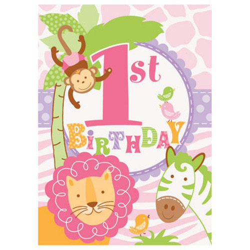 1st Birthday Pink Safari 8 Invitations with Envelopes Animals Monkey