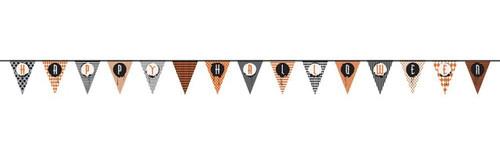 """Halloween Pendant Flag Banner 14 ft """"Happy Halloween"""" Paper"""