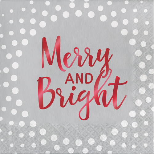 Merry and Bright Foil 16 Ct Silver Luncheon Napkins Christmas Holiday Sparkle