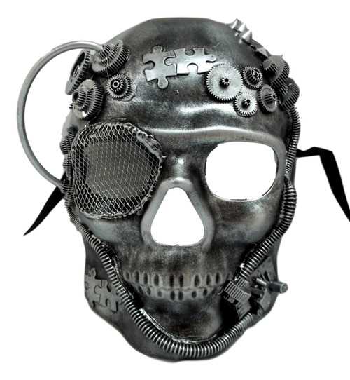 Steampunk Skull Brushed Silver Halloween Masquerade Mask