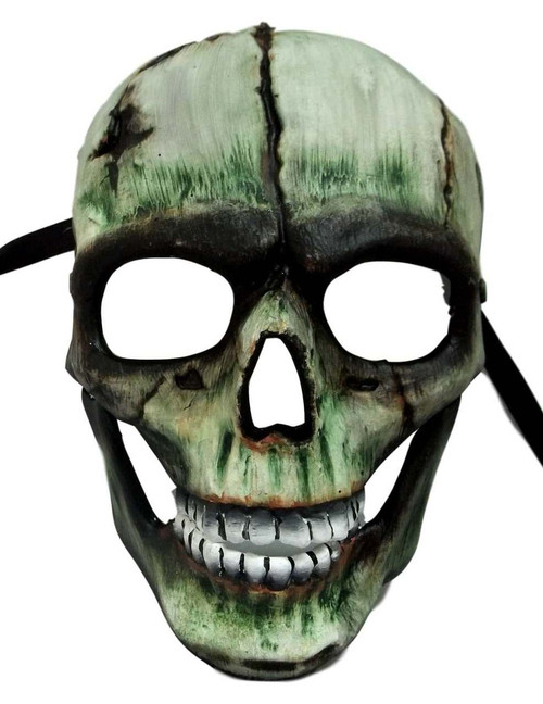 Demon Skull with Hinged Jaw Green White Halloween Mask
