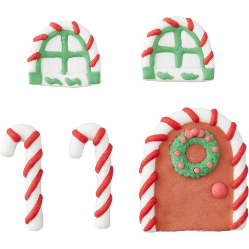 Door and Windows Gingerbread House Icing Candy Decorations 5 Ct Wilton