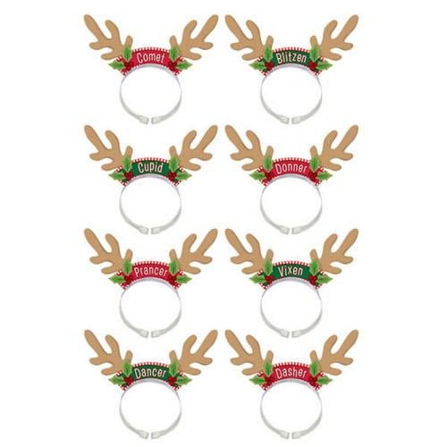 Santa's Reindeer Headbands 8 Per Package