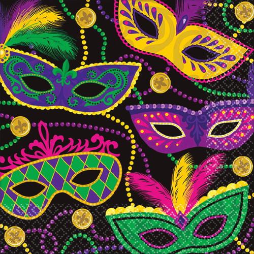 Colorful Mardi Gras Masks Beads 16 ct Beverage Napkins
