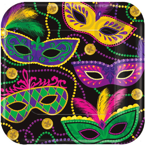 "Colorful Mardi Gras Masks Beads 8 ct 7"" Cake Dessert Plates Paper Square"
