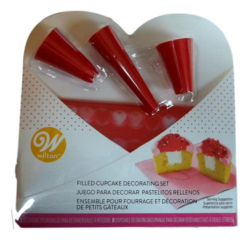 Valentine Filled Cupcake Decorating Set 3 Red Tips 4 disposable bags Wilton