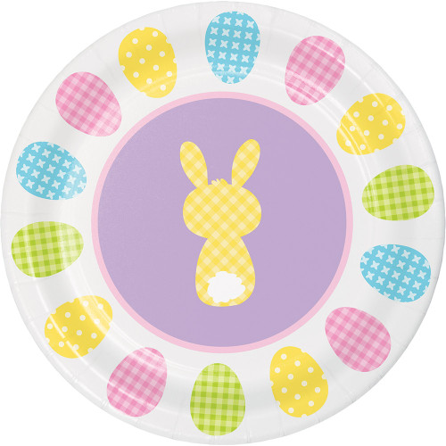 """Cottontails Happy Easter Bunny 8 Ct 7"""" Dessert Cake Paper Plates Peeps"""