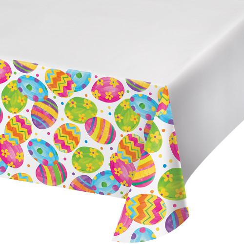 Easter Egg Toss Tablecover Tablecloth Plastic 54 x 102 Border Print
