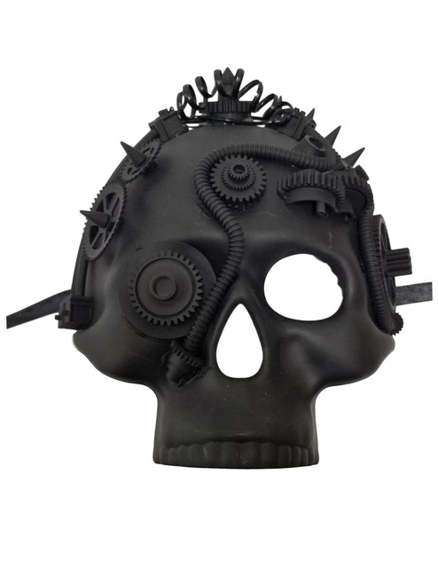 Black Steampunk Gears Jawless Skull Halloween Masquerade Mask