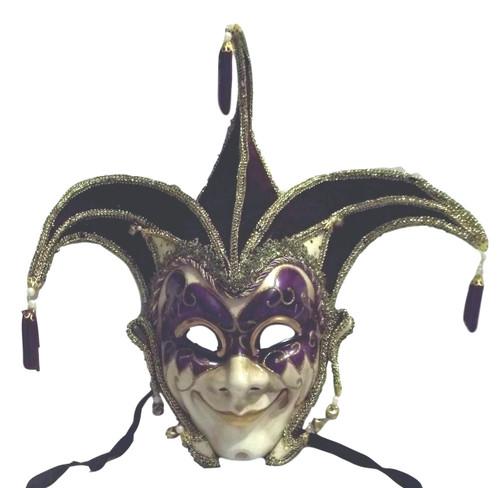 Jester Stick Mask Purple Decorate or Wear Mardi Gras Masquerade Mask Wall Hanging