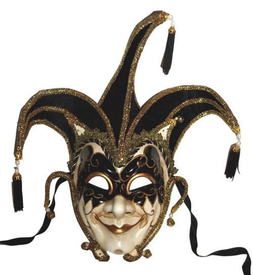 Jester Stick Mask Black Decorate or Wear Mardi Gras Masquerade Mask Wall Hanging