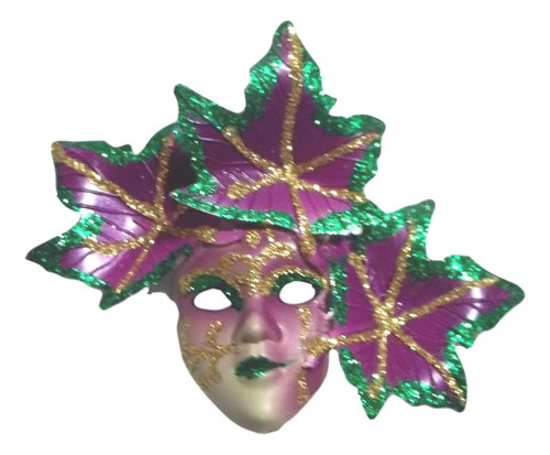 Pin Mardi Gras Mask with Leaves Purple Green Gold Party Favor