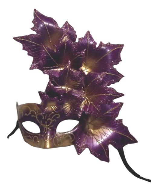 Purple Gold Leaf Cascade Mask Masquerade Prom Mardi Gras