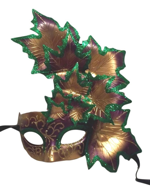Purple Green Gold Leaf Cascade Mask Masquerade Prom Mardi Gras