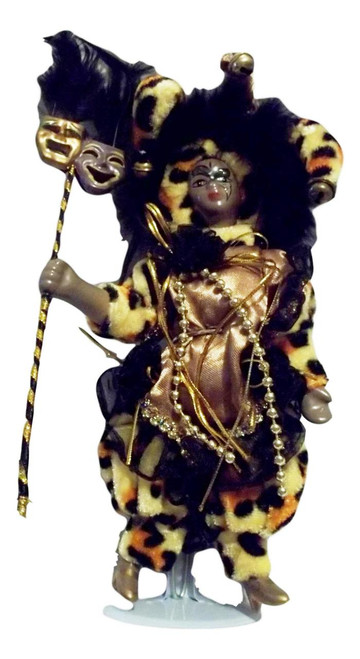"Black Mardi Gras Jester Doll 7"" Leopard with stand"